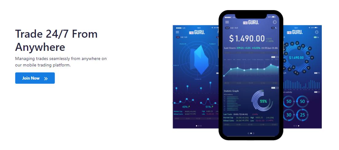 MrGuru trading on mobile