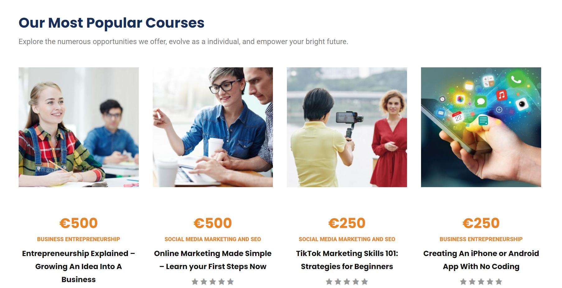 WebAcademyst popular courses